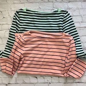 Merona Blue & Pink Striped 3/4 Sleeve Blouses